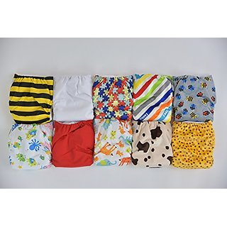 10 Pack Pocket Cloth Diapers with 20 Inserts (2 Inserts Per Diaper)-unisex