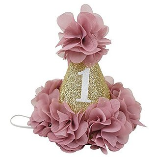 PoshPeanut Beautiful Baby Crown Headband Princess First Birthday Cone Hat Sparkle Dusty Rose and Gold Made in the USA