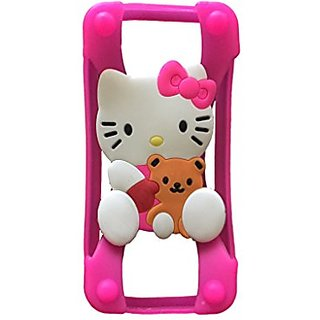 Hello Kitty Teddy Bear Universal Silicone Frame Bumper for iPhone 6 / 6S / 5 / 5S / 4 / 4S Soft Gel Phone Case Cover Fit