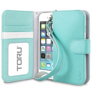 iPhone SE Case, TORU i Wristlet [Teal] Wallet Case with [CARD SLOT][ID HOLDER][KICKSTAND][WRIST STRAP] for iPhone 5 / 5S