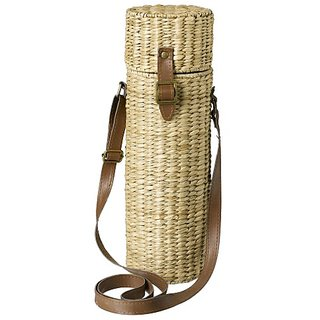 Grasslands Road Coastal Life Seagrass Basket Woven Wine Caddy with Shoulder Strap