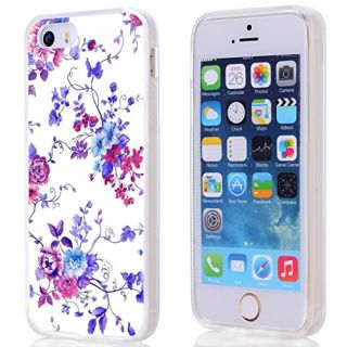 5S case SE, apple iphone SE / 5 case purple small elegant vintage freshing small rose art texture floral pattern