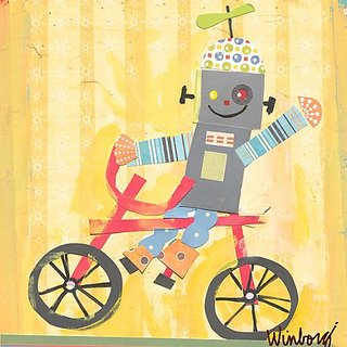 Oopsy Daisy Biking Robot Stretched Canvas Wall Art by Winborg Sisters, 14 by 14-Inch
