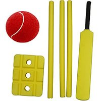 WOODY CRICKET PLASTIC BAT WITH WICKETS +TENISS BALL (FREE!!)