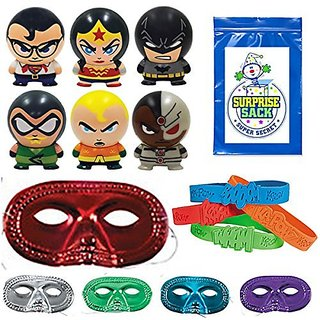 36 Pc Superheroes Party Favor Pack (12 Metallic Half Masks, 12 Super Hero Bracelets, 1 SSSS, & 12 Super Heroes Buildable