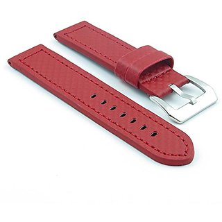 StrapsCo Red Thick Carbon Fiber Style Watch Band size 18mm