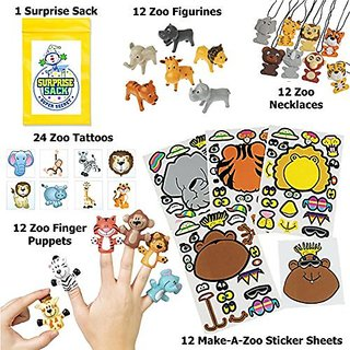 Super Safari Party Favor Pack (12 Wiggly Eyed Wild Animal Necklaces, 12 Zoo Finger Puppets, 12 Zoo Figurines, 24 Zoo Ani