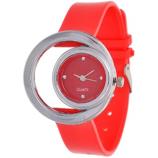 Glory Red style Moon Round Fancy Collection PU Analog Watch - For Women by 7Star