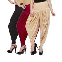 Fashion And Freedom Women's Pack of 3 Black, Red And Cream Lycra Base Viscose Dhoti