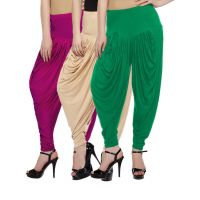 Fashion And Freedom Women's Pack of 3 Magenta, Cream And Green Lycra Base Viscose Dhoti