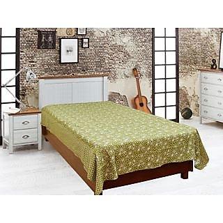 BajajDeocr Green Abstract Cotton Single Bed Sheet (Diwan11)