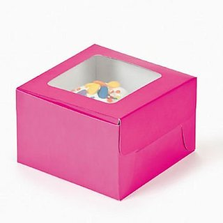 Paper Hot Pink Cupcake Boxes by Fun Express