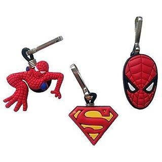 Spiderman Snap Hook Zipper Pulls Mini Set 3 Pcs