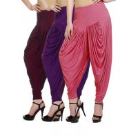 Fashion And Freedom Women's Pack of 3 Maroon, Purple And Pink Lycra Base Viscose Dhoti