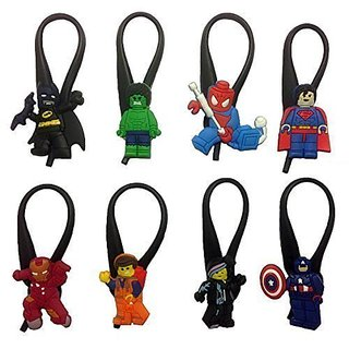 Lego Movie Silicone Snap Lock Zipper Pulls 8 Pcs Set #1