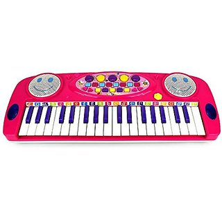 VT Happy Face 37 Keys Electric Organ Childrens Kids Battery Operated Toy Piano Keyboard Instrument (Pink)