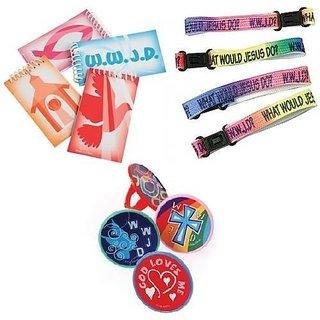 Inspirational Religious Christian Theme Party Favor Kit VBS 12 Mini Spiritual Notebooks. 12 WWJD Clasp Bracelets 48 Insp
