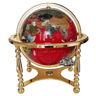 Unique Art 21-Inch Tall Red Lapis Ocean Table Top Gemstone World Globe with 4 Leg Gold Stand