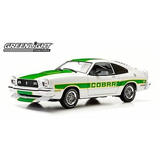 1978 Ford Mustang II Cobra II White with Green Billboard Stripes 1 18 by Greenlight 12895