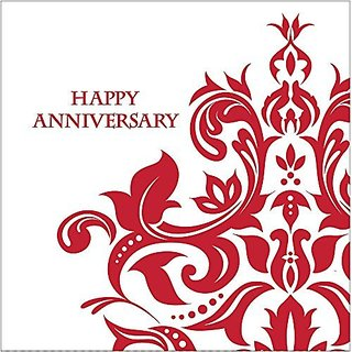 Creative Converting 36 Count 3 Ply Happy Anniversary Lunch Napkins, Ruby