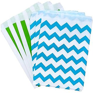 Outside the Box Papers Lime Green and Blue Chevron Treat Sacks 48 Pack 5.5 x 7.5 Lime Green, Blue, White