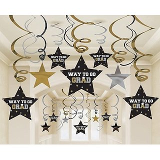 Graduation Star Swirl Decorations (Black Silver Gold) Party Accessory 30 pieces