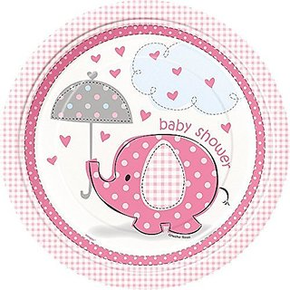 Pink Elephant Girl Baby Shower Plates, 8ct