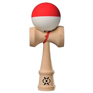 Kendama USA - Tribute Kendama - Half Split Red & White - Silk Matte