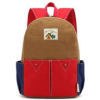 Canvas Backpack Rucksack for Preschool Kindergarten Elementary Kids Boy and Girl (Khaki Pink)