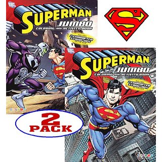 DC Comics Superman Coloring and Activity Book Set (2 Books ~ 96 pgs each)