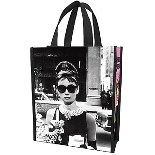 Vandor 92073 Audrey Hepburn Small Recycled Shopper Tote  Black/White/Pink