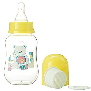Abstract 6 Oz. Baby Feeding Bottle with Cover and Strainer (yellow)