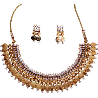 Cardial American Silver Plated Gold Glass Necklace Sets For Women's