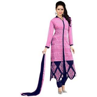 Mahamaya Creation Pink V-Neck Self Design A Line Dress