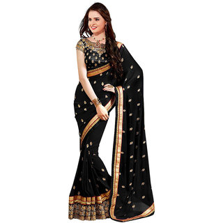 Mahamaya Creation Black Georgette Normal Saree With Blouse