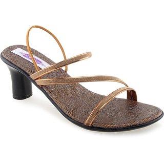 Aashka Women's Bronze Slip on Heels Sandal