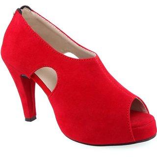 Aashka Women's Red Slip on Heels Sandal
