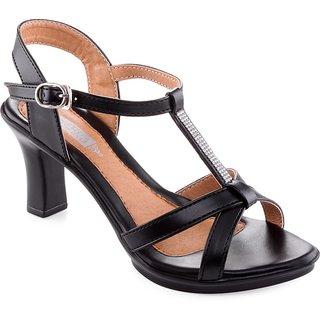 Aashka Women's Black Slip on Heels Sandal