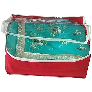 Kuber Industries Transparent Non Woven Red Saree Cover (10-15 Sarees Capacity) Scnwmt378