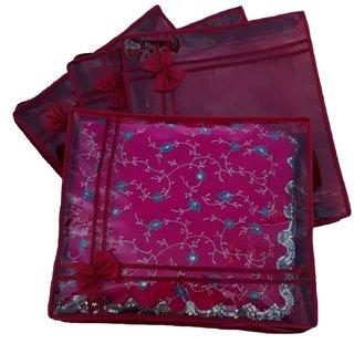 Indi Bargain Maroon Non Woven Designer Saree Cover Set Of 4 Sc620