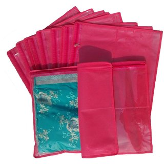 Indi Bargain Pink Non Woven Single Saree Cover - Set Of 12 Sc612
