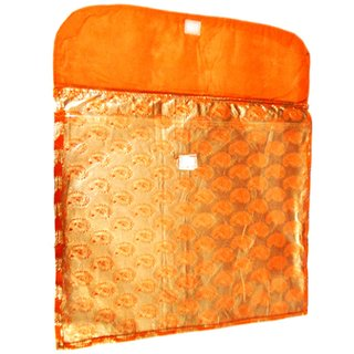 Aj Creations Orange And Silver Colour Flip Design Saree Cover Bag For 1 Saree (Pack Of 10) Asfc0101