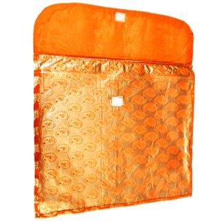 Aj Creations Orange And Silver Colour Flip Design Saree Cover Bag For 1 Saree (Pack Of 10) Asfc0101