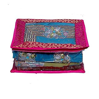 Kuber Industries Saree Cover In Fancy Transparent Brocade Wedding Collection Gift Ki8061
