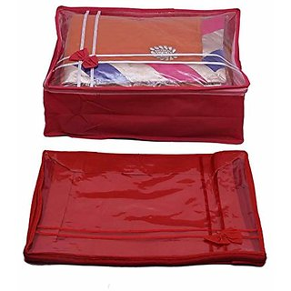 Kuber Industries Non Woven Transparent Designer Multi Saree Cover (5-10 Sarees Capacity) Set Of 2 Pcs Scm112