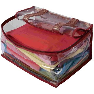 Kuber Industries Heavy Marron Brocade Heavy Wedding Petticoat Cover (10-15 Sarees Capacity) Pc101