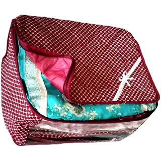 Kuber Industries Maroon 3 Layered Quilted Printed Transparent Multi Saree Cover (10-15 Sarees Capacity) Scm152