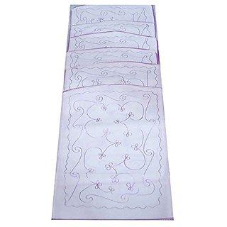 Kuber Industries Transparent Kota Doria Hanging Saree Cover (Set Of 6) - White Ki8074