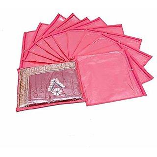 Kuber Industries Single Packing Saree Cover 12 Pcs Set (Pink) K014