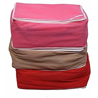 Kuber Industries Non Woven 3 Saree Covers/Wardrobe Organiser/Regular Clothes Bag K016